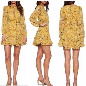 NEW 🏷 BARDOT Floral YELLOW Frill Dress